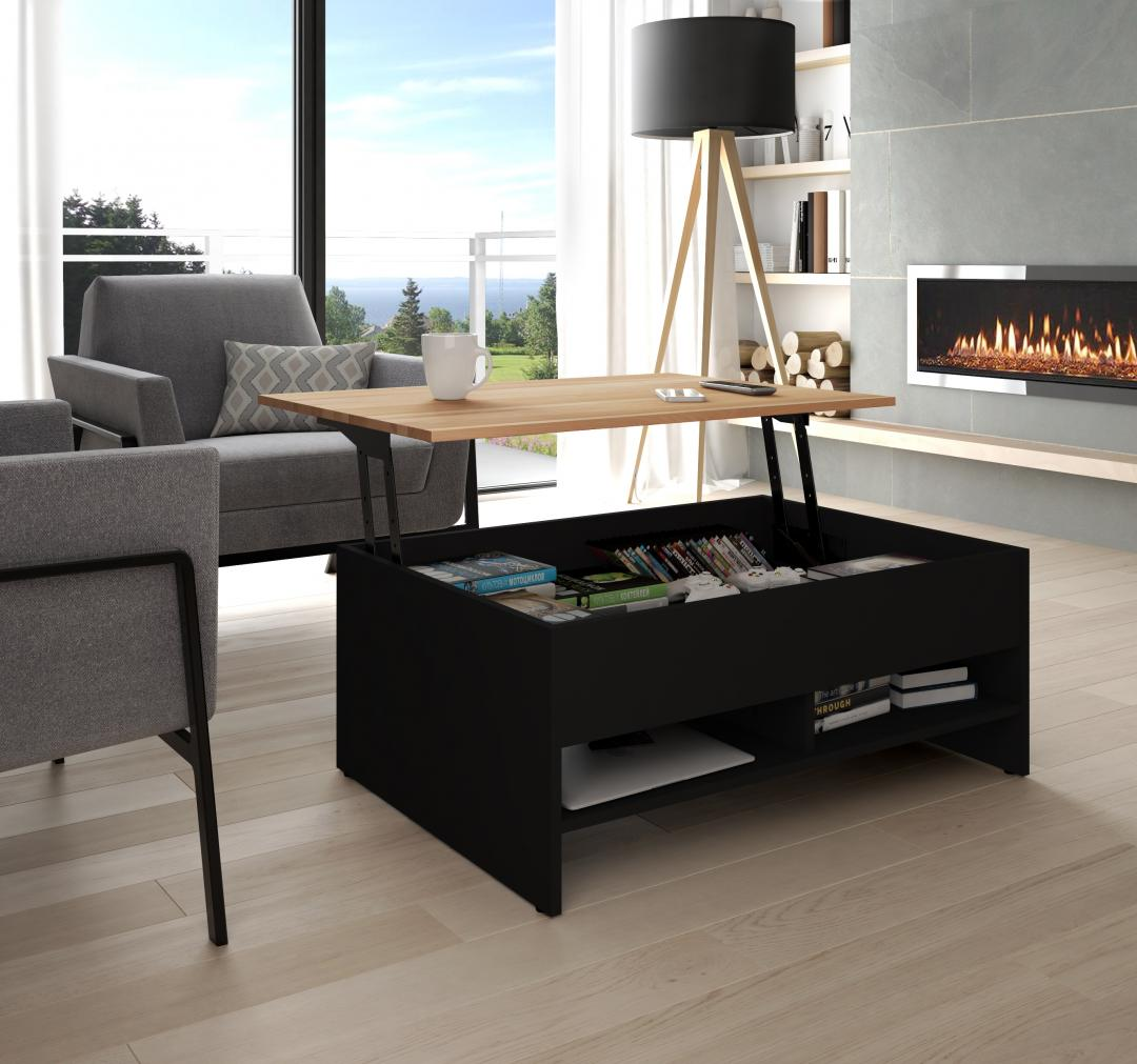 This coffee table is an excellent example of multifunctional furniture because it can be used as a storage unit a coffee table or a worktable