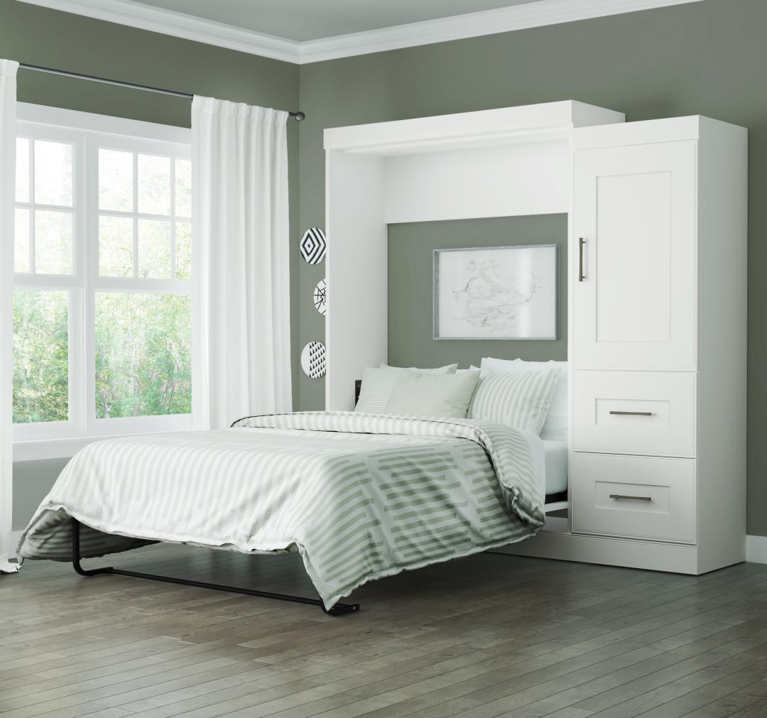 ... Full Wall Bed With 2 Drawer Storage Unit. White
