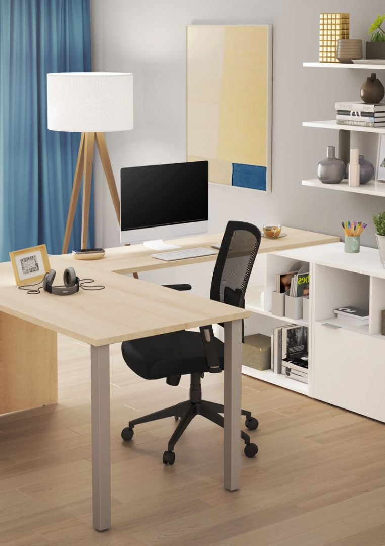 L shaped desk with natural wood finish and white credenza