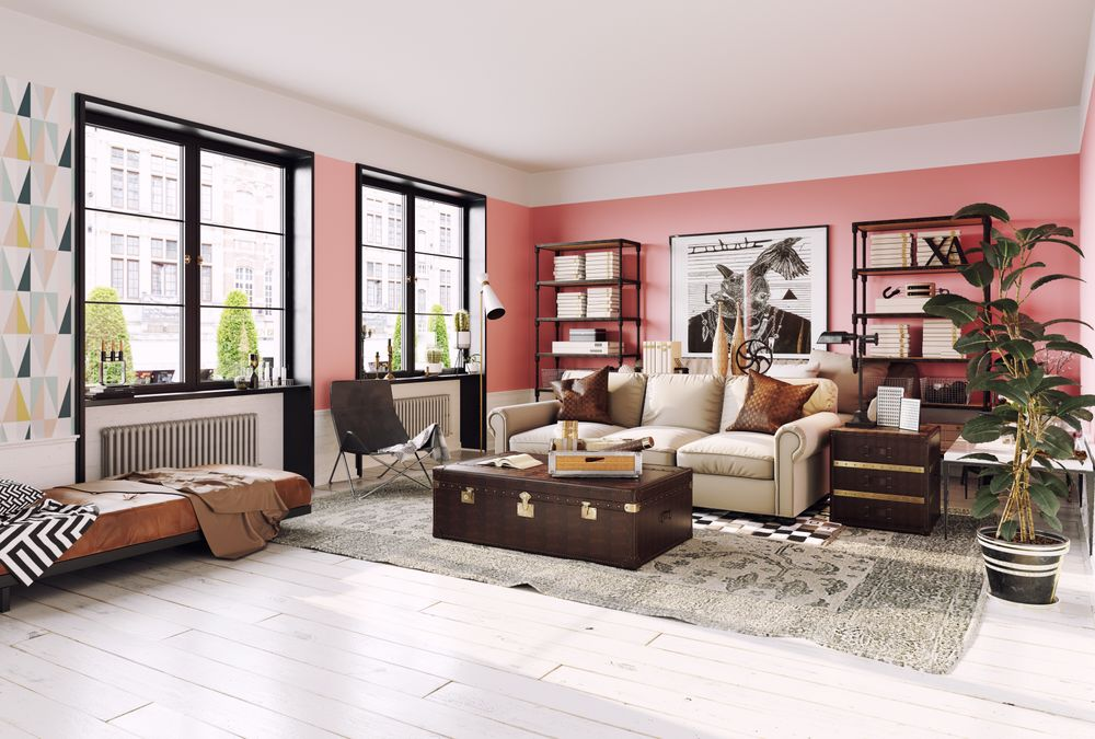 Living room with shelves and leather trunk