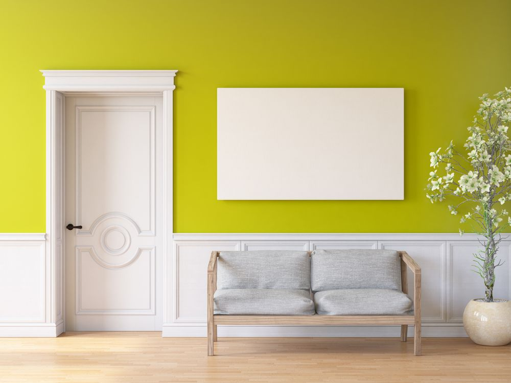 Waiting room with green walls