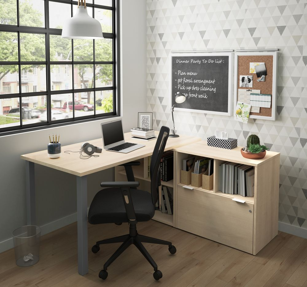 L desk with black chair