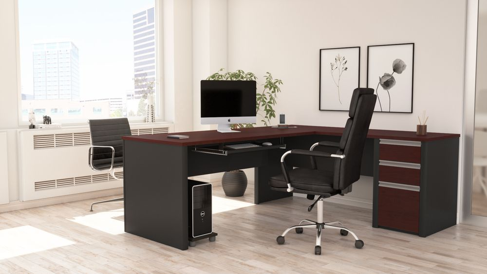 Bordeaux & Slate L-shaped desk
