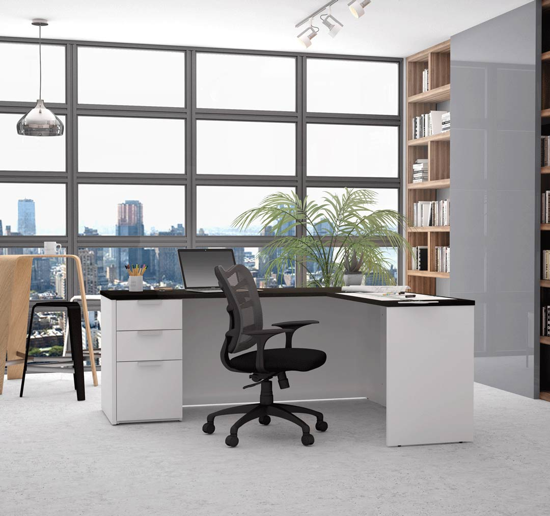 L-desk and office chair