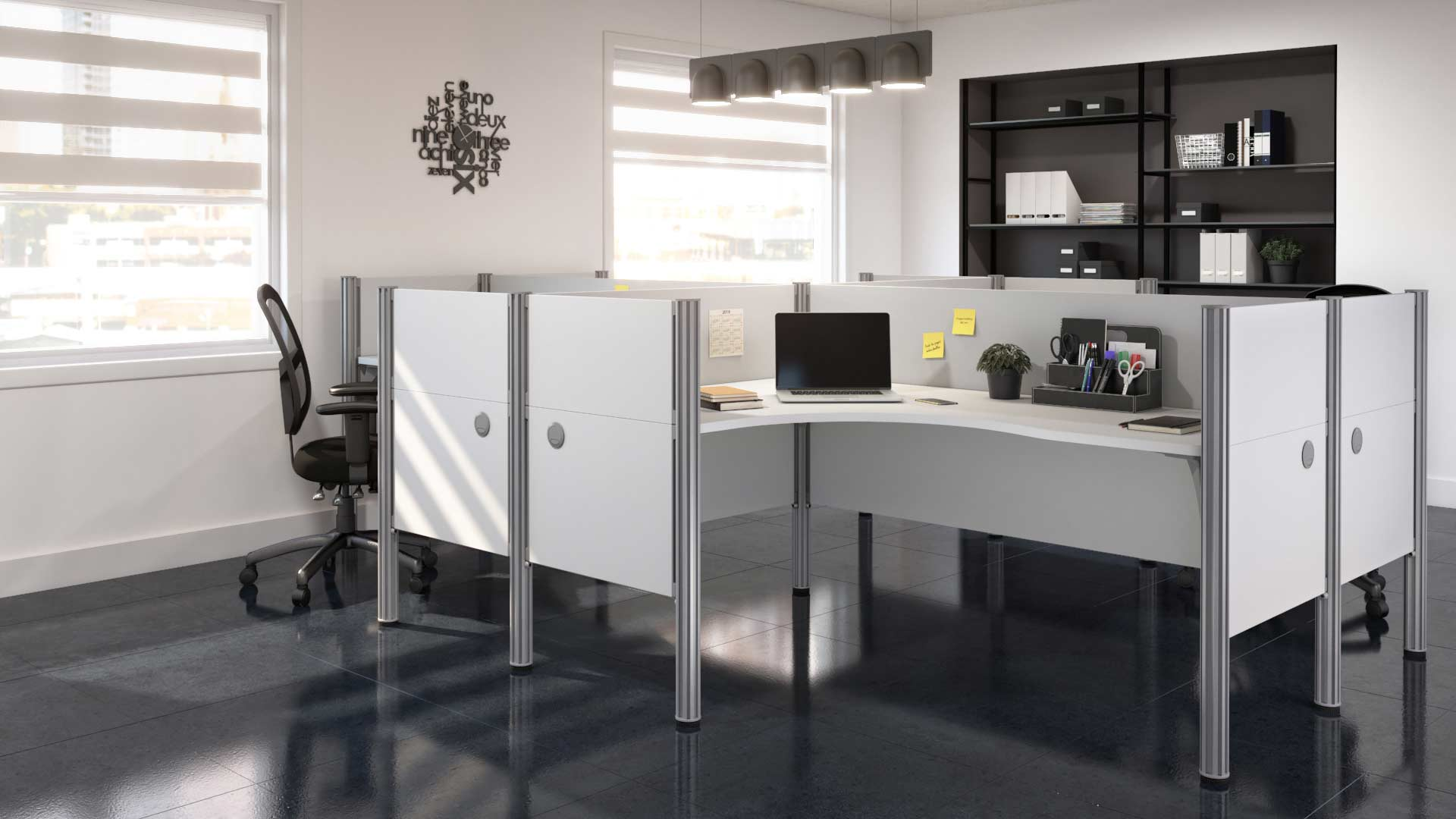 White cubicles in light-filled office