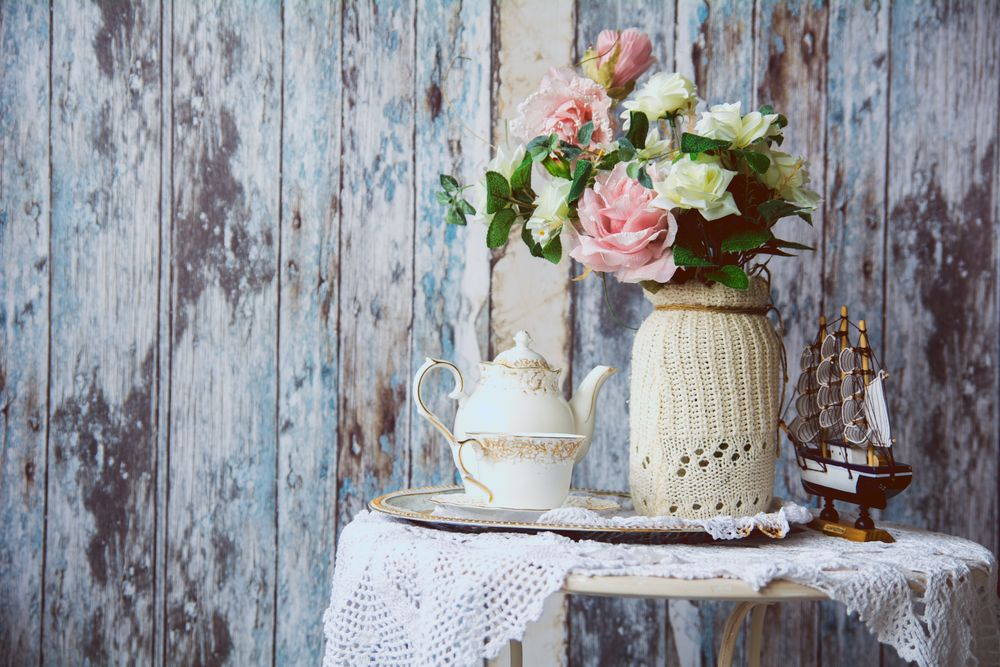 Porcelain teapot and cup