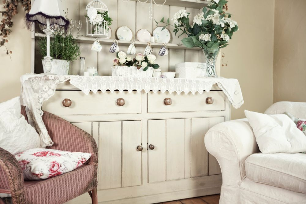 Shabby chic hutch in a living room