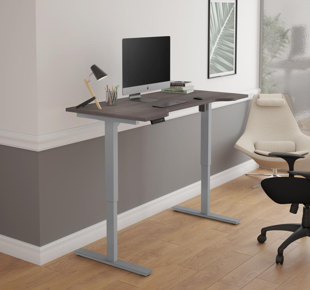 Grey and Brown Standing Desk