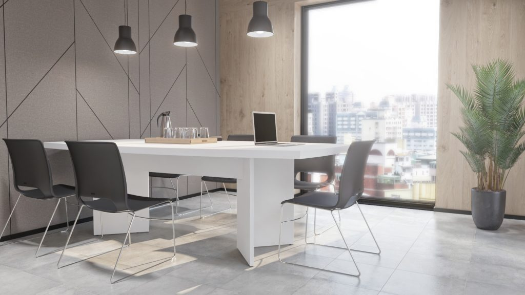 White conference table for 6 or 8