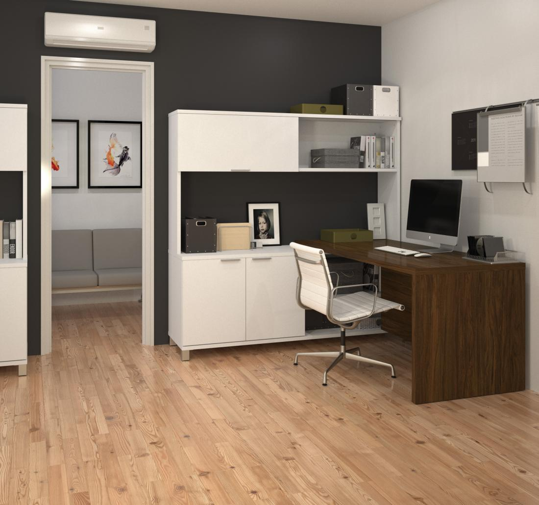 L-shaped desk with hutch in an office