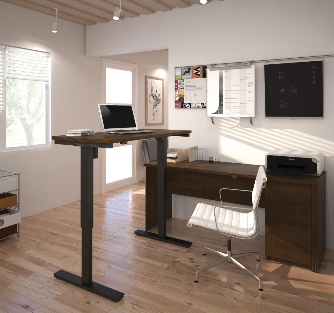 Standing desk in light-filled home office
