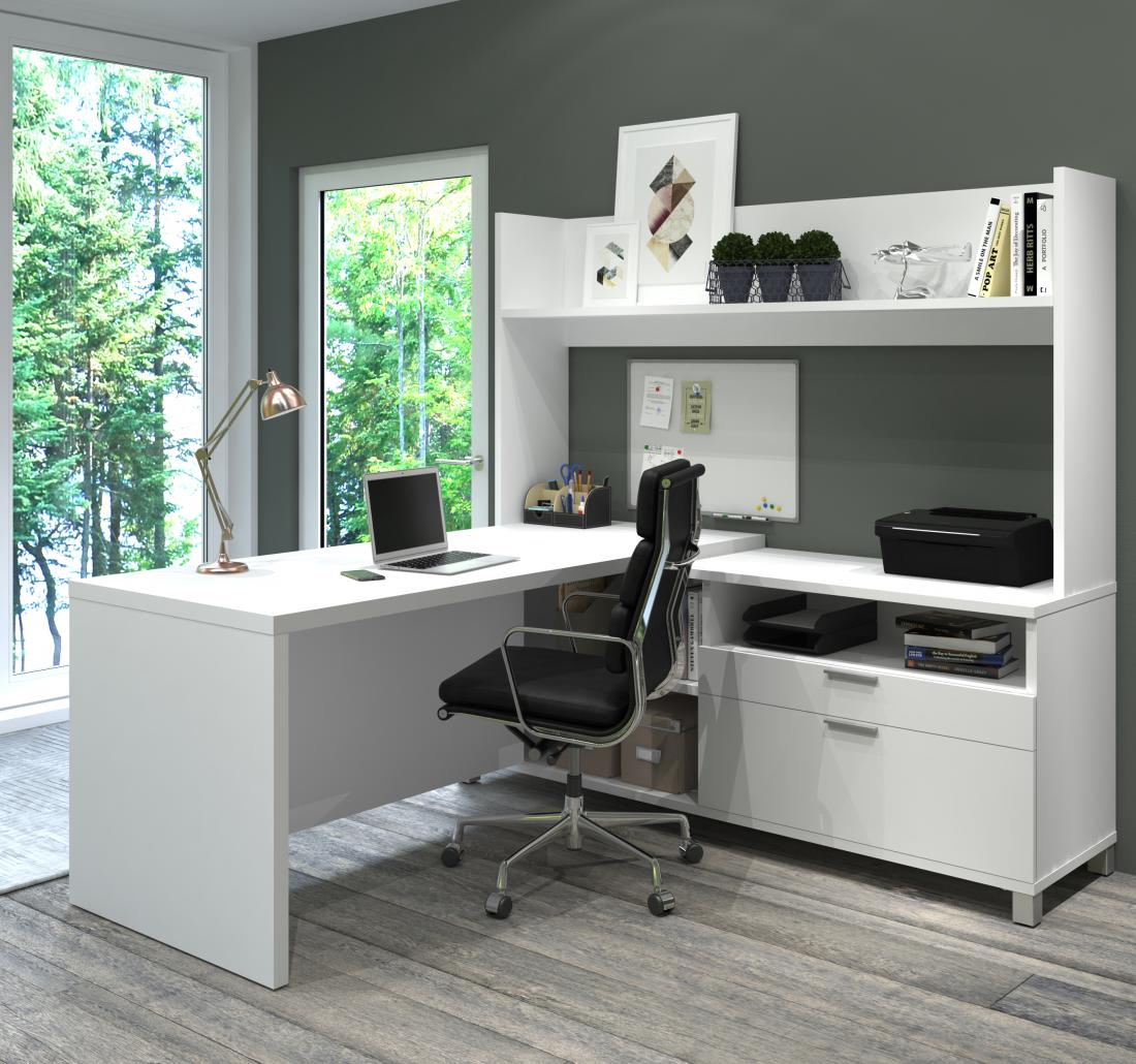 White L-shaped desk with hutch in a grey home office
