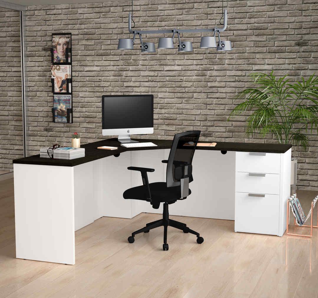 black and white L-shaped desk