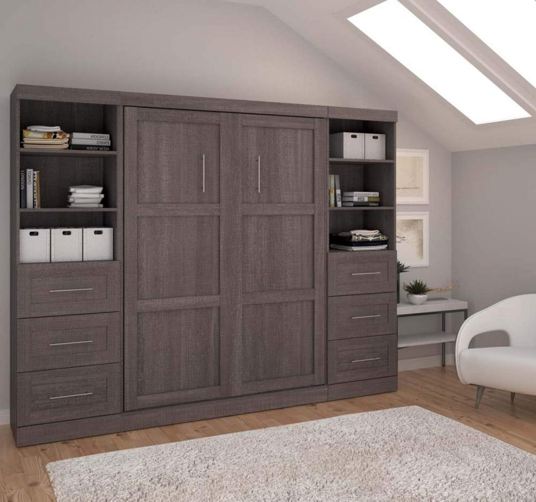 BESTAR wall bed with storage cabinets in grey
