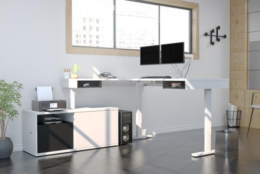 L-shaped white gaming desk with storage space