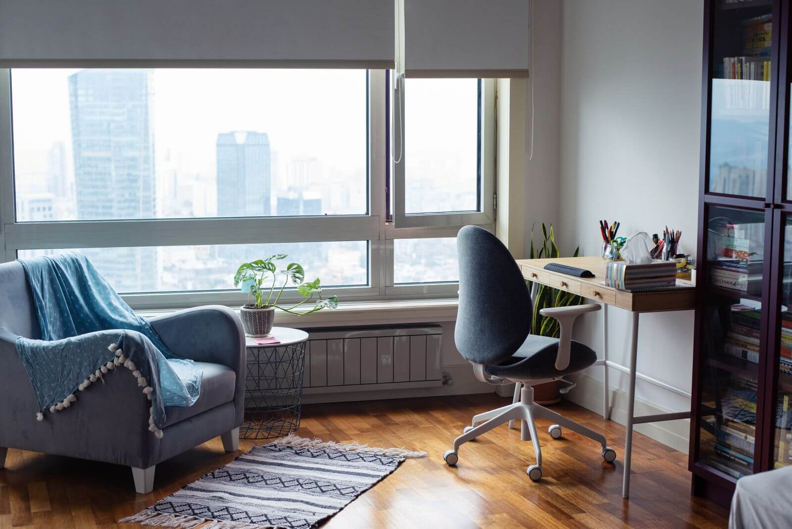 Comfortable home office with chair