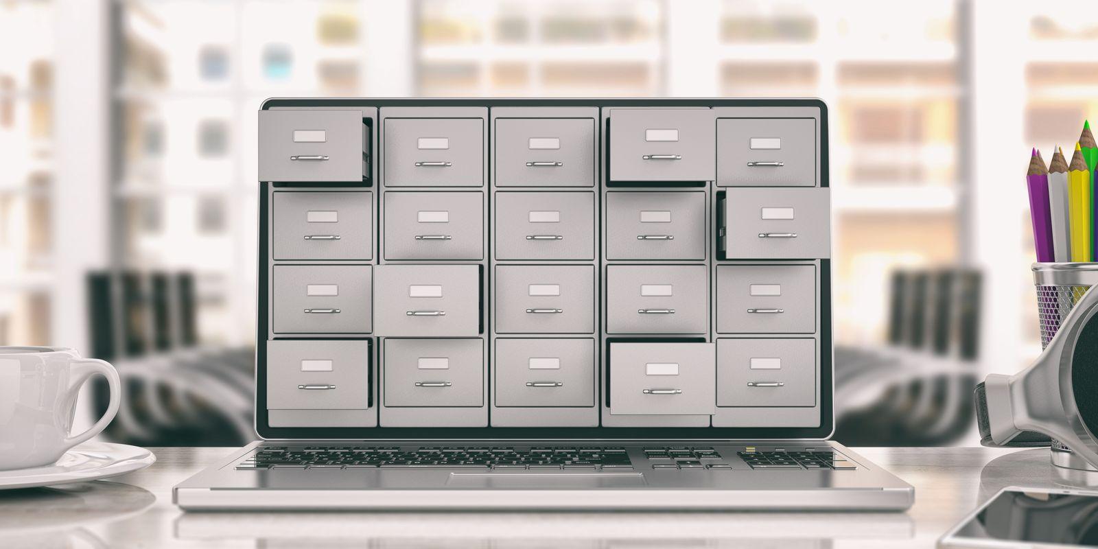 Digital files on a laptop