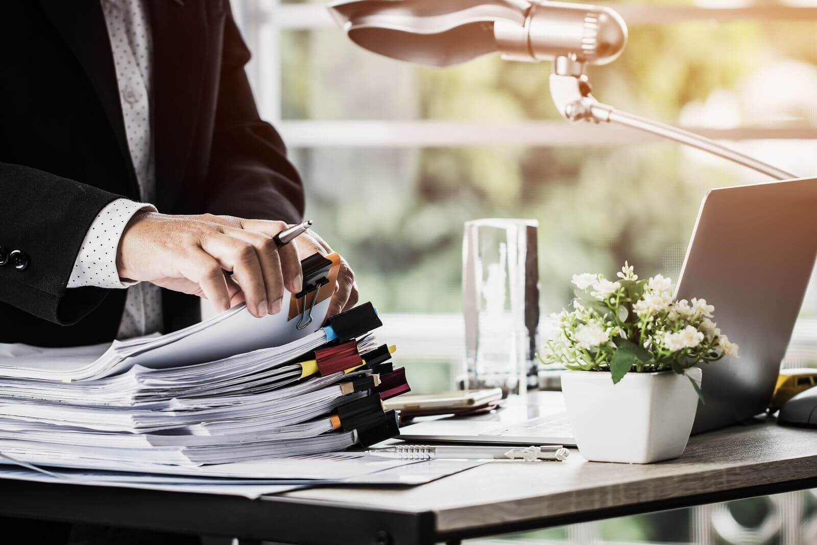 Man organizing desk