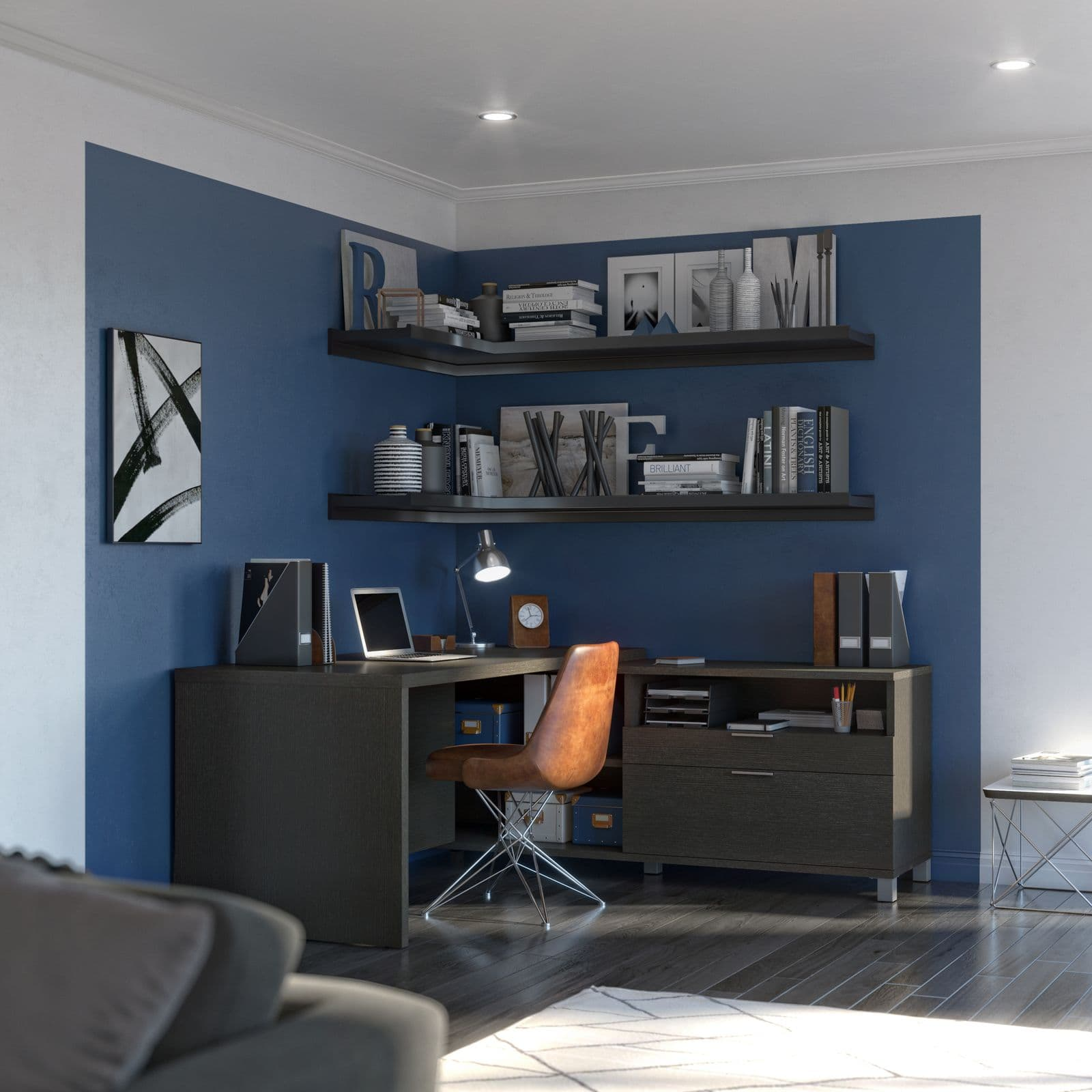 Bestar L-shaped desk with blue accent wall