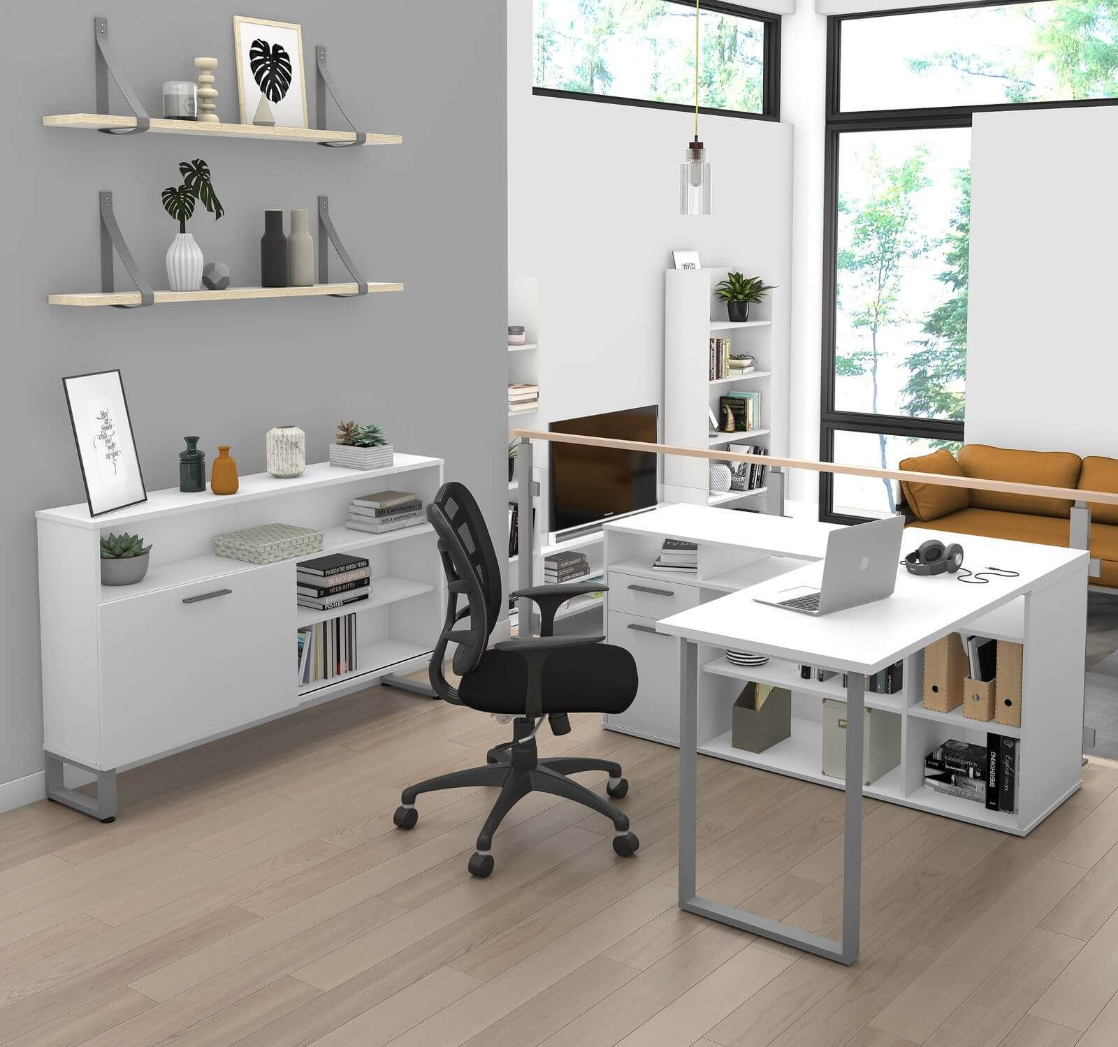 Bestar L-shaped desk with credenza