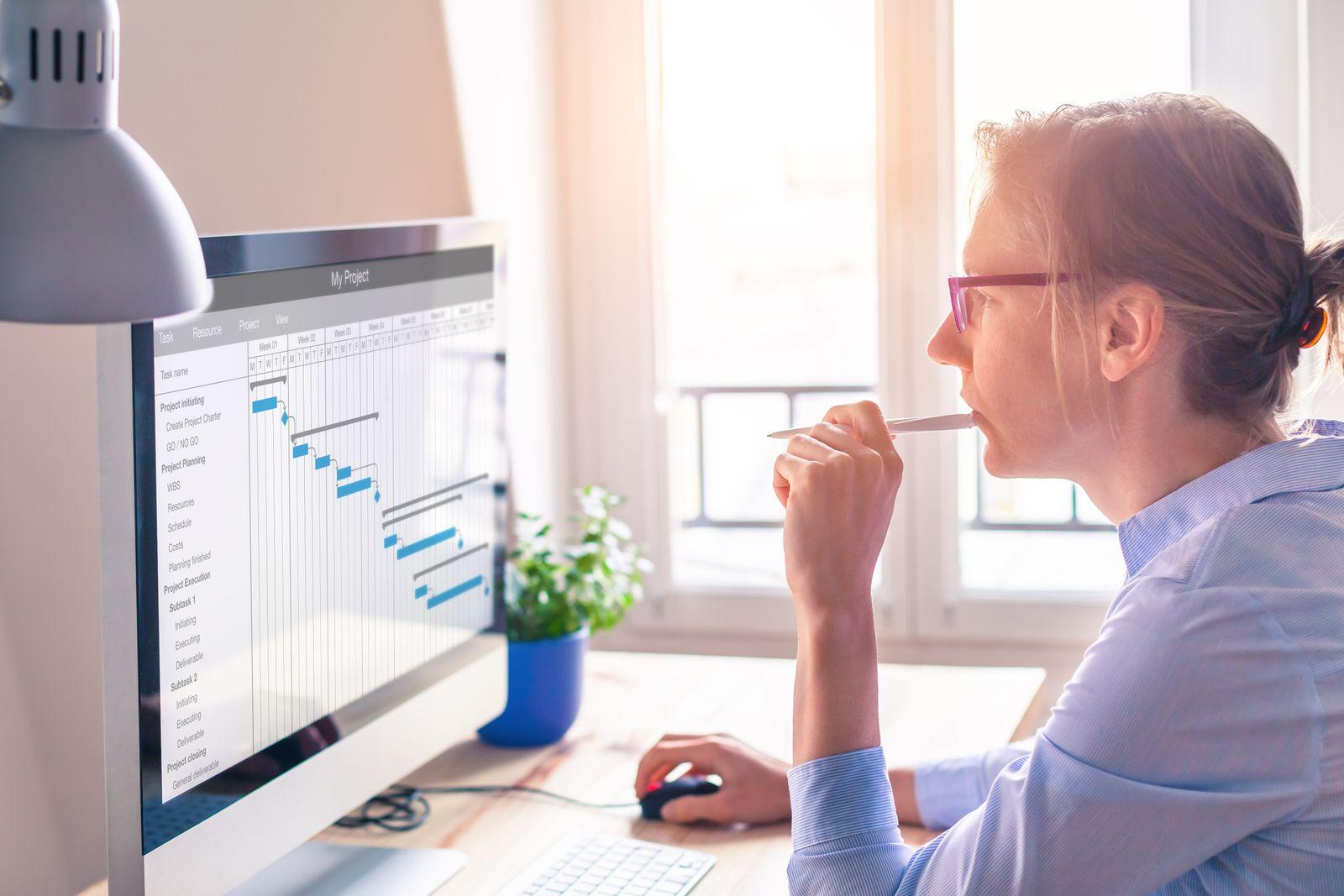 Businesswoman using task managing software