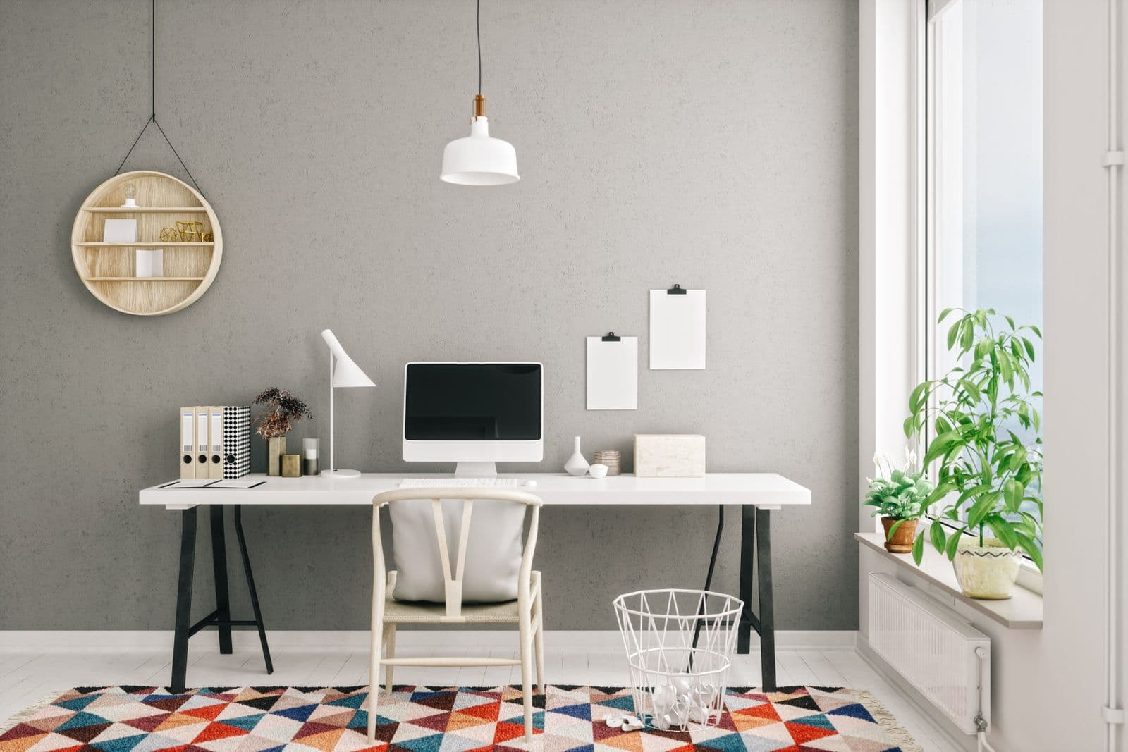 Home office with colorful rug