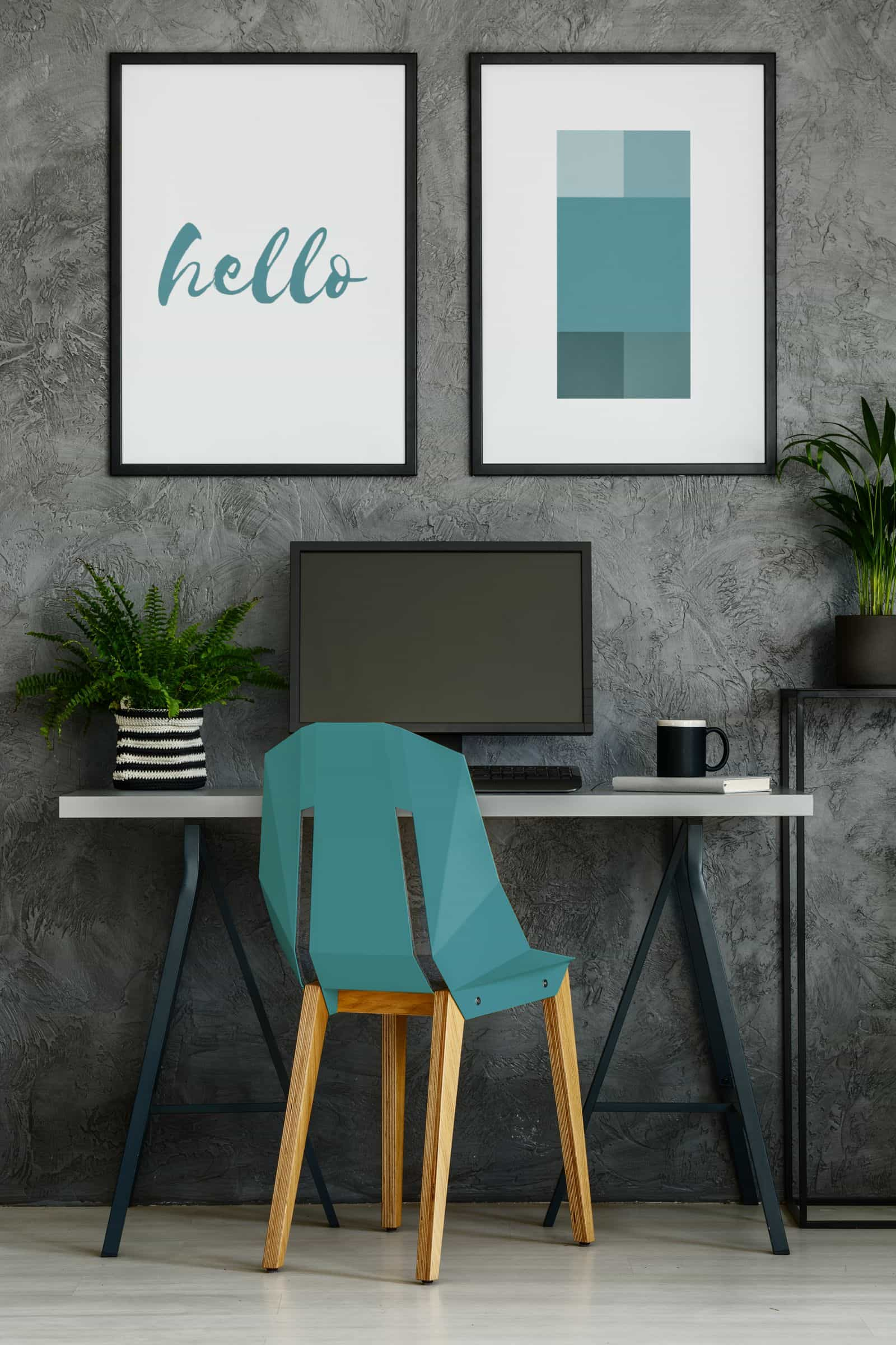 Home office with turquoise chair
