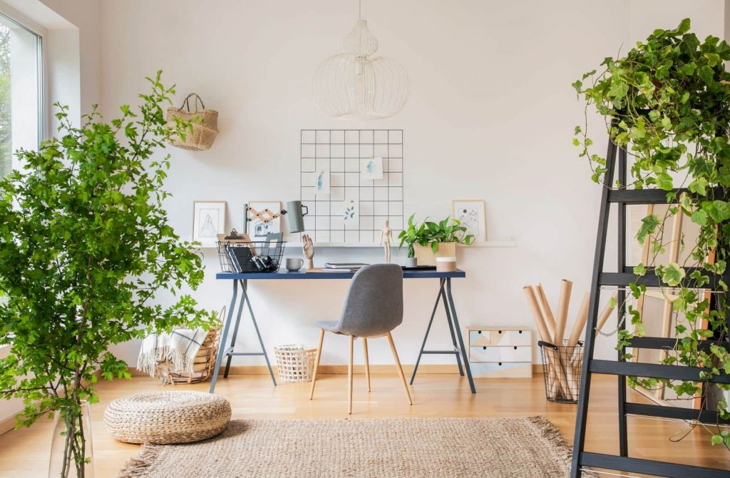 Plant-filled home office