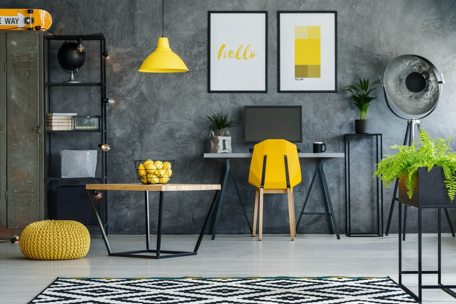 Modern home office with yellow accents