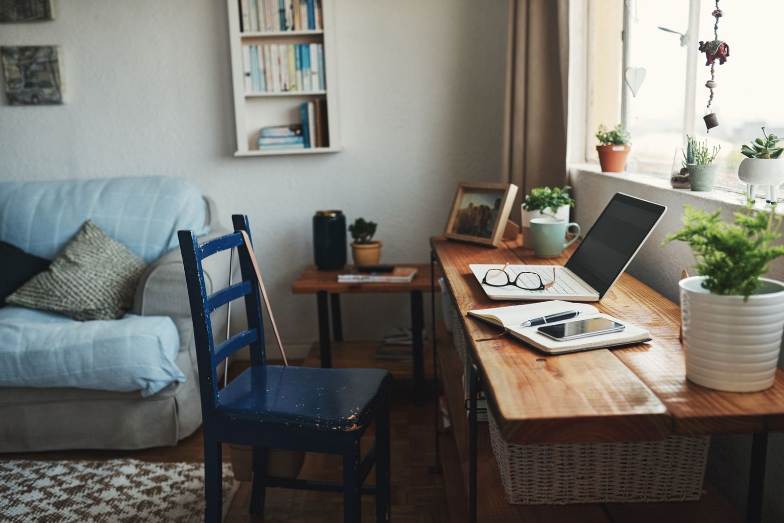 Home office desk in front of window