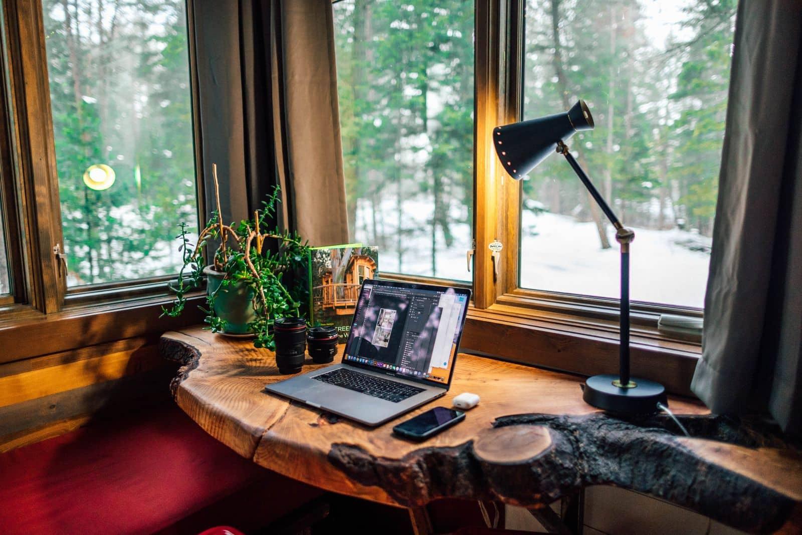 Wooden desk in multipurpose office