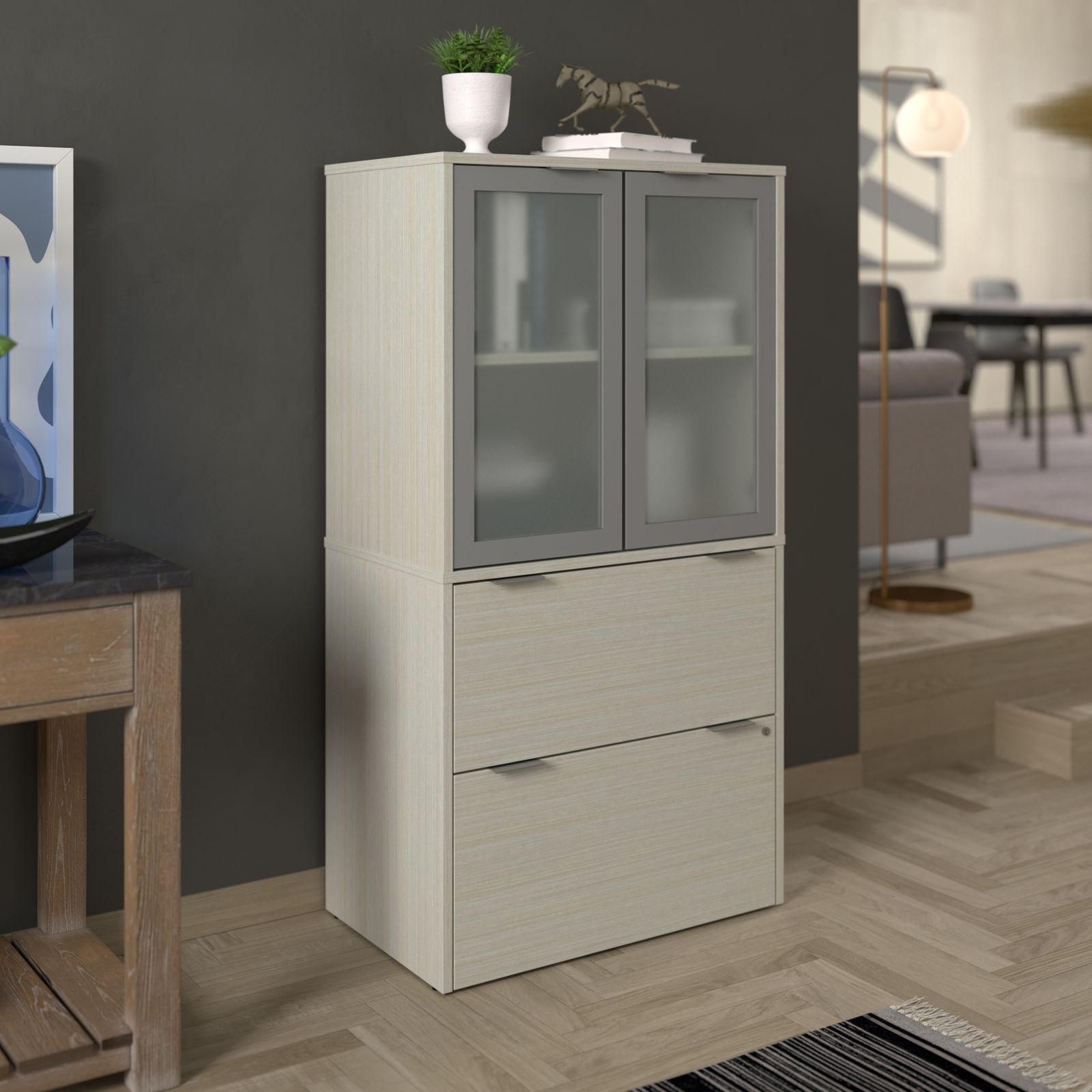 Bestar filing cabinet with hutch