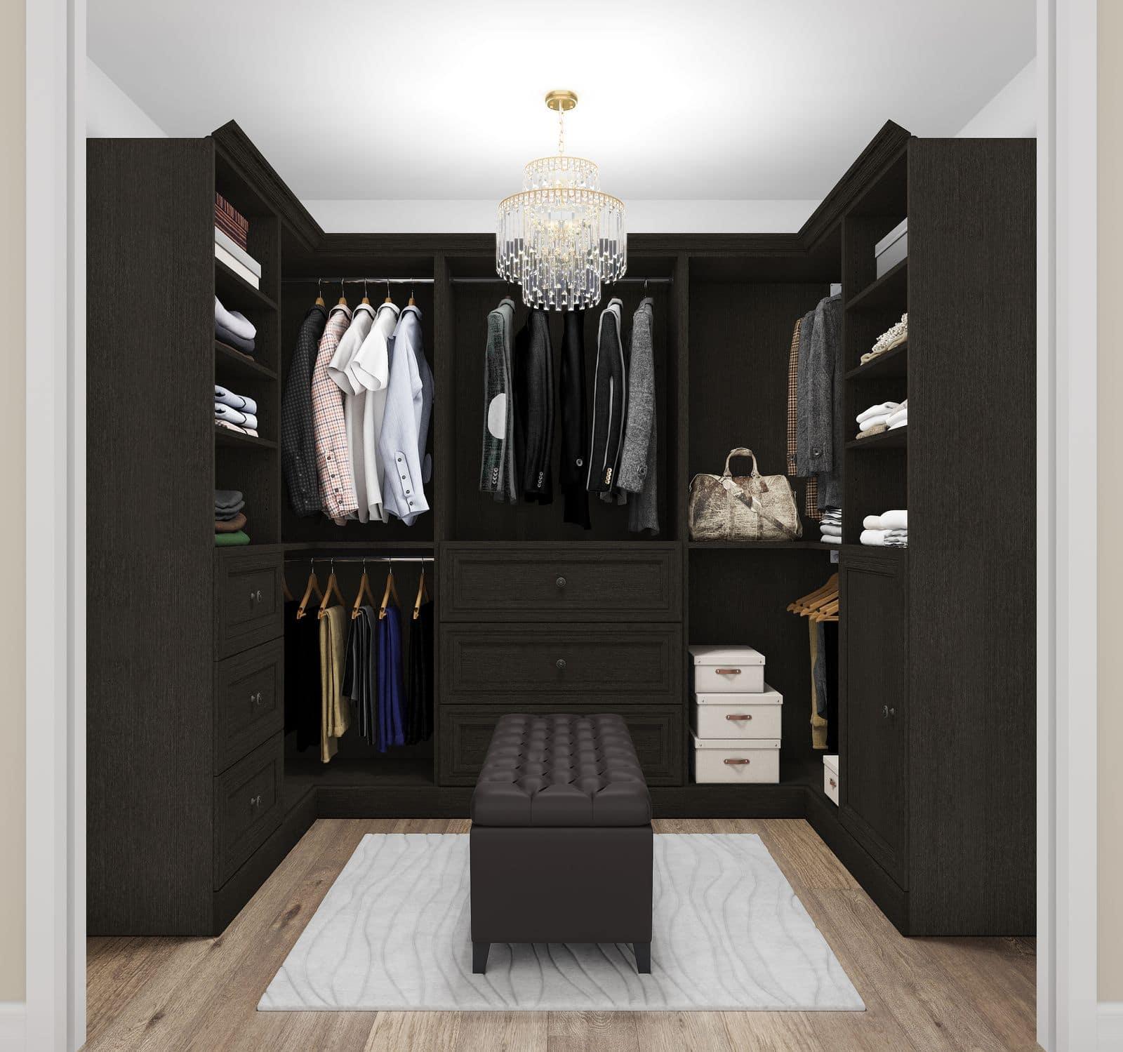 Walk-in closet with Bestar furniture