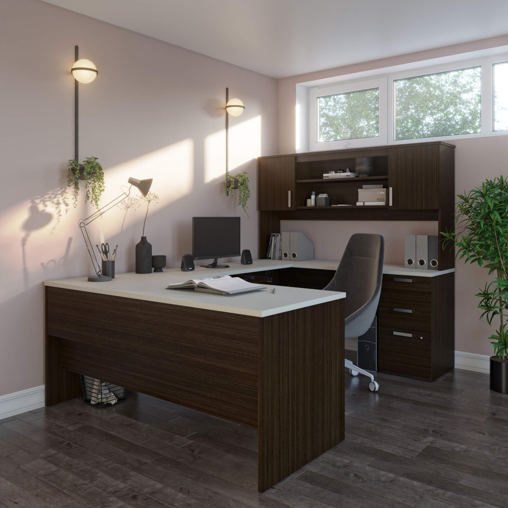 U Shaped Desk with Hutch