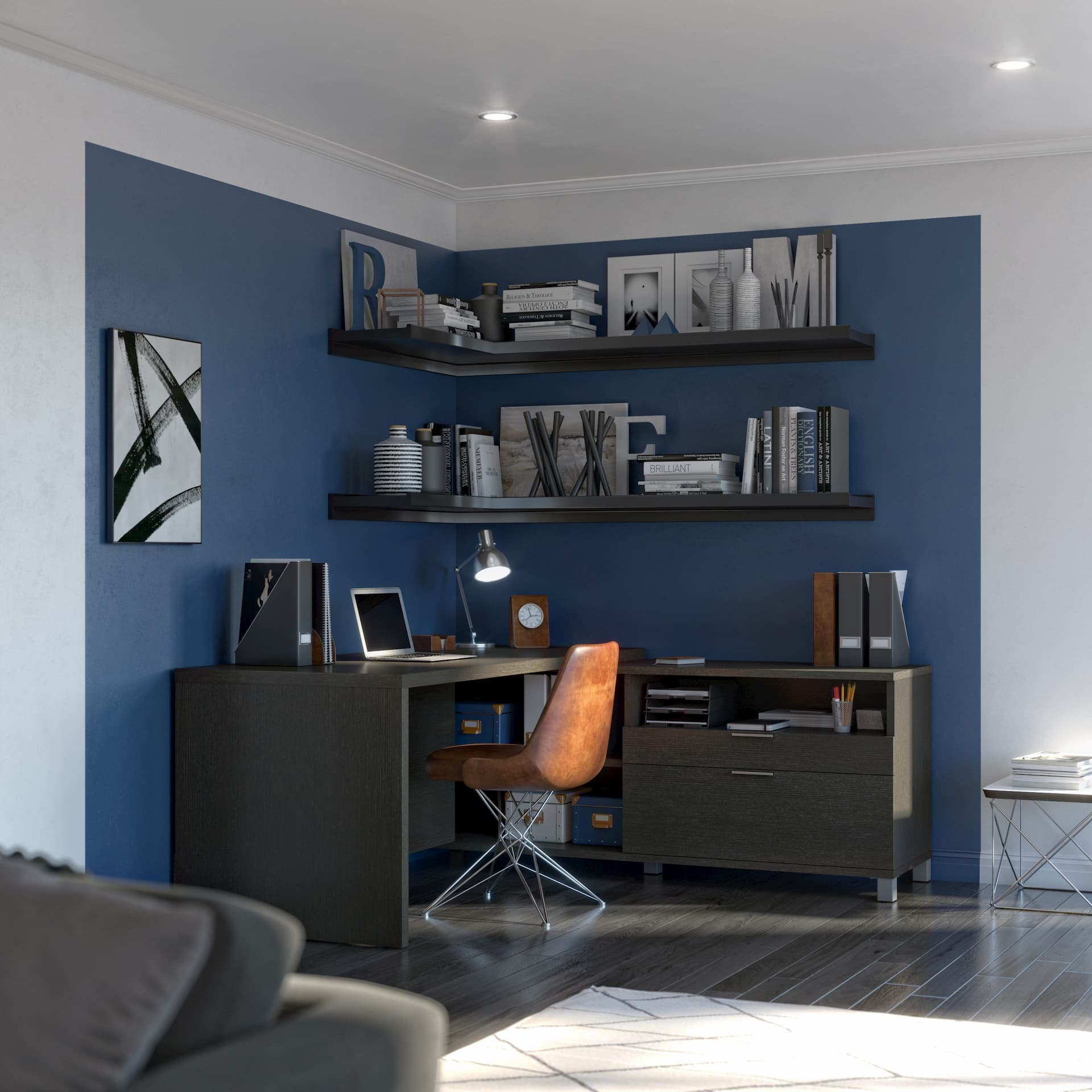 L Shaped Desk with Shelving