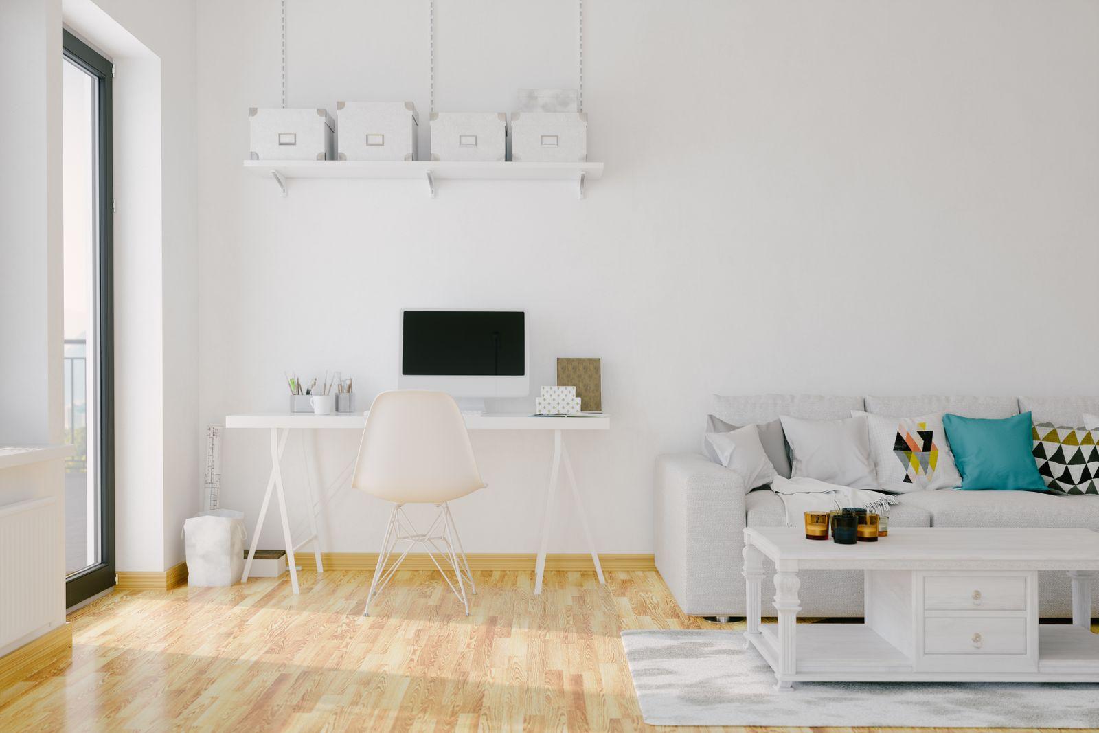 Plain white home office