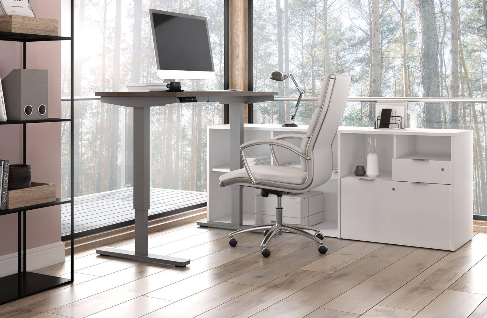 ergonomic height-adjustable L shaped desk