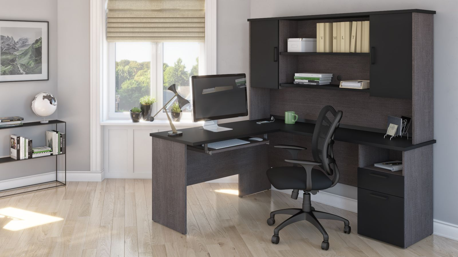 Bestar L shaped desk with storage