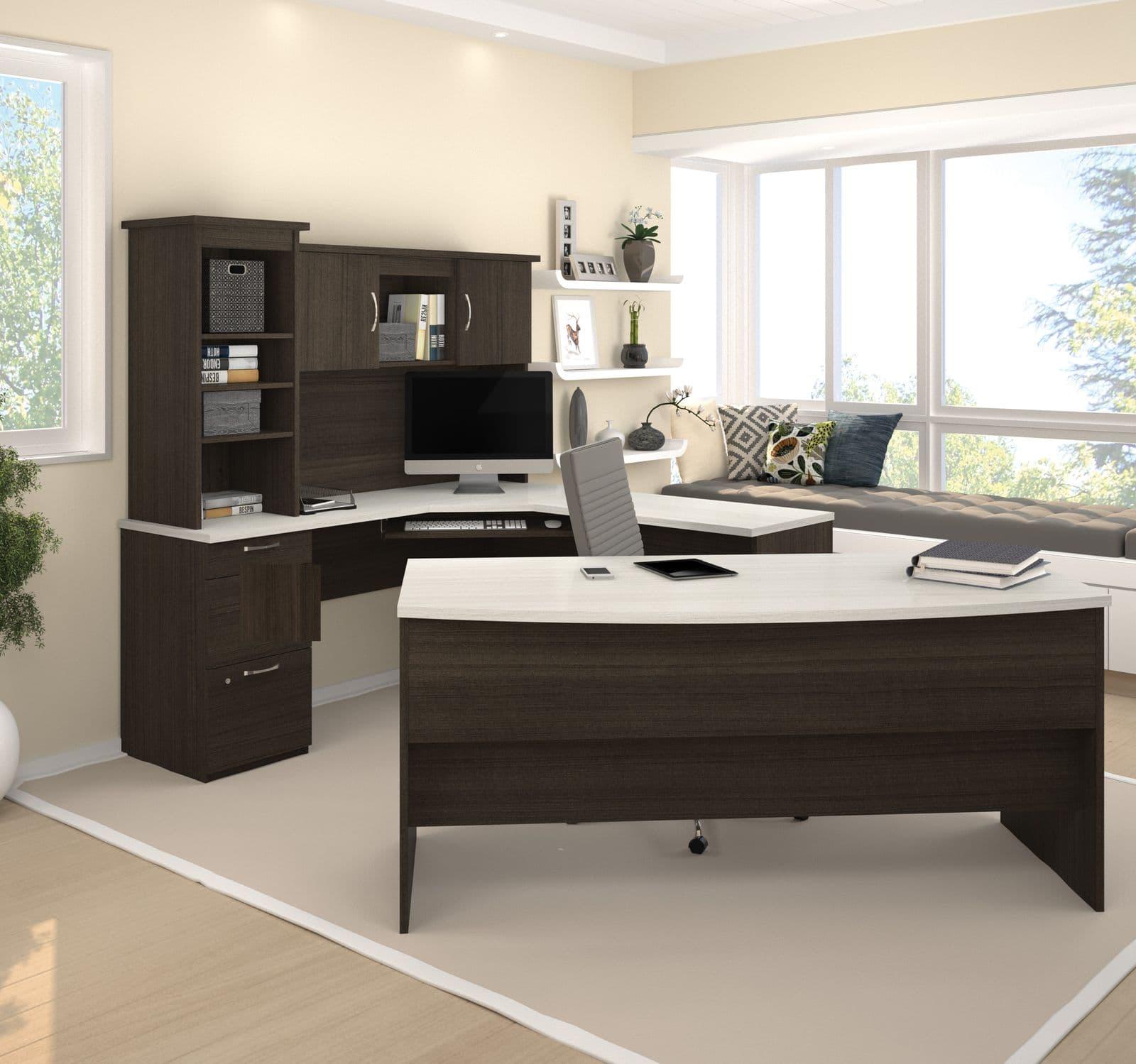 Home office with a Bestar U shaped desk set