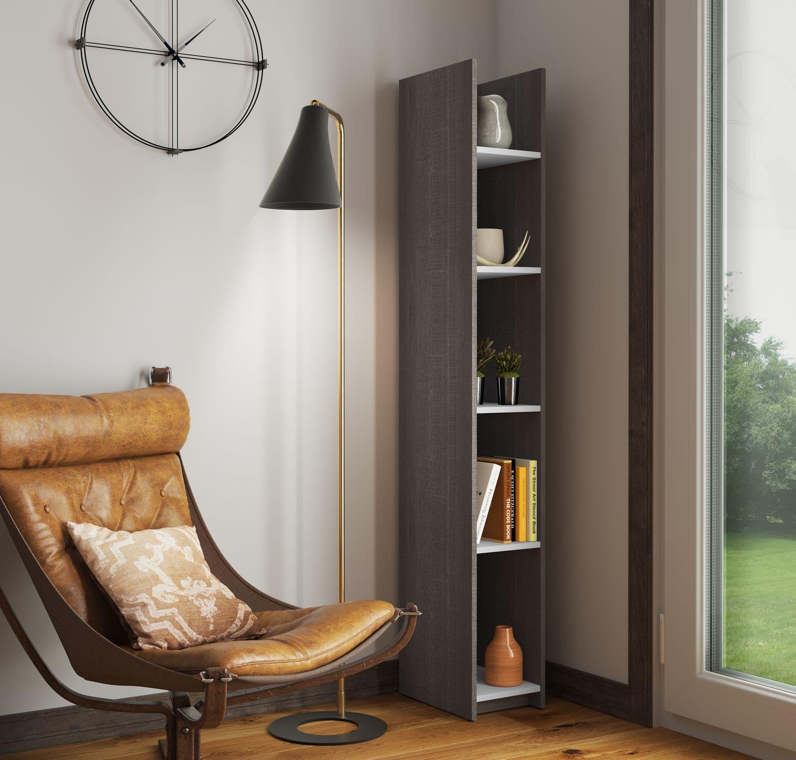 Bestar narrow shelving unit in a corner