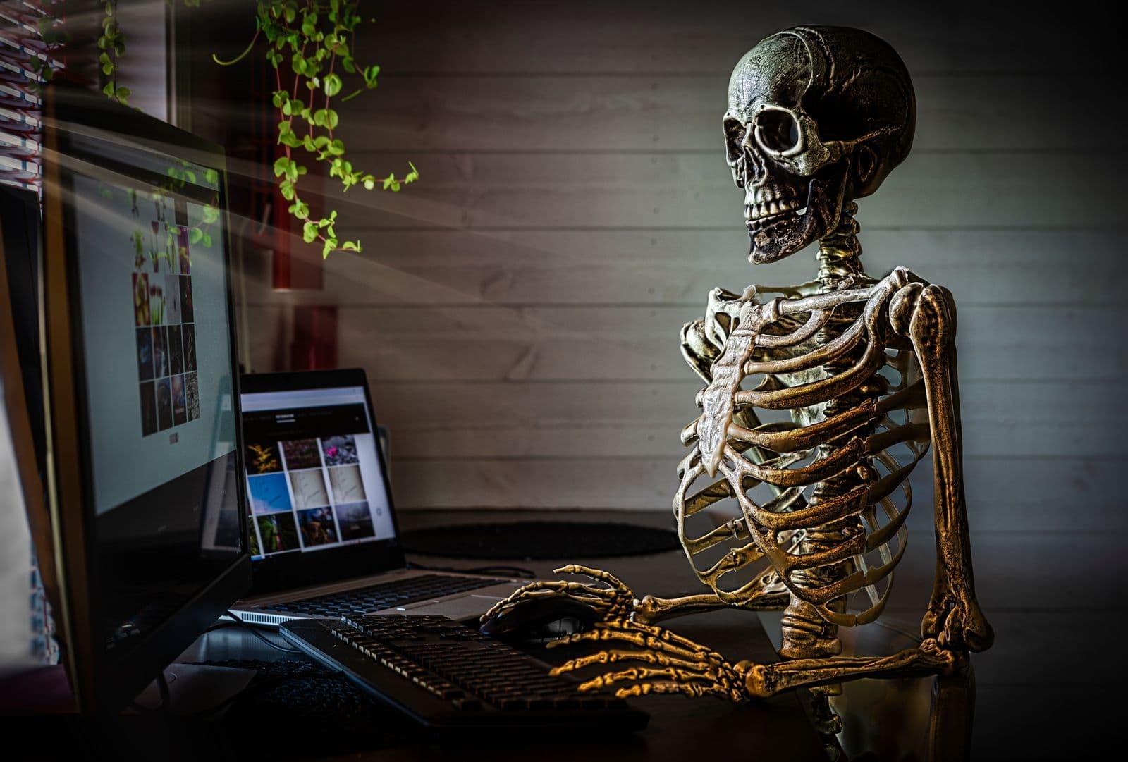 prop skeleton in an office