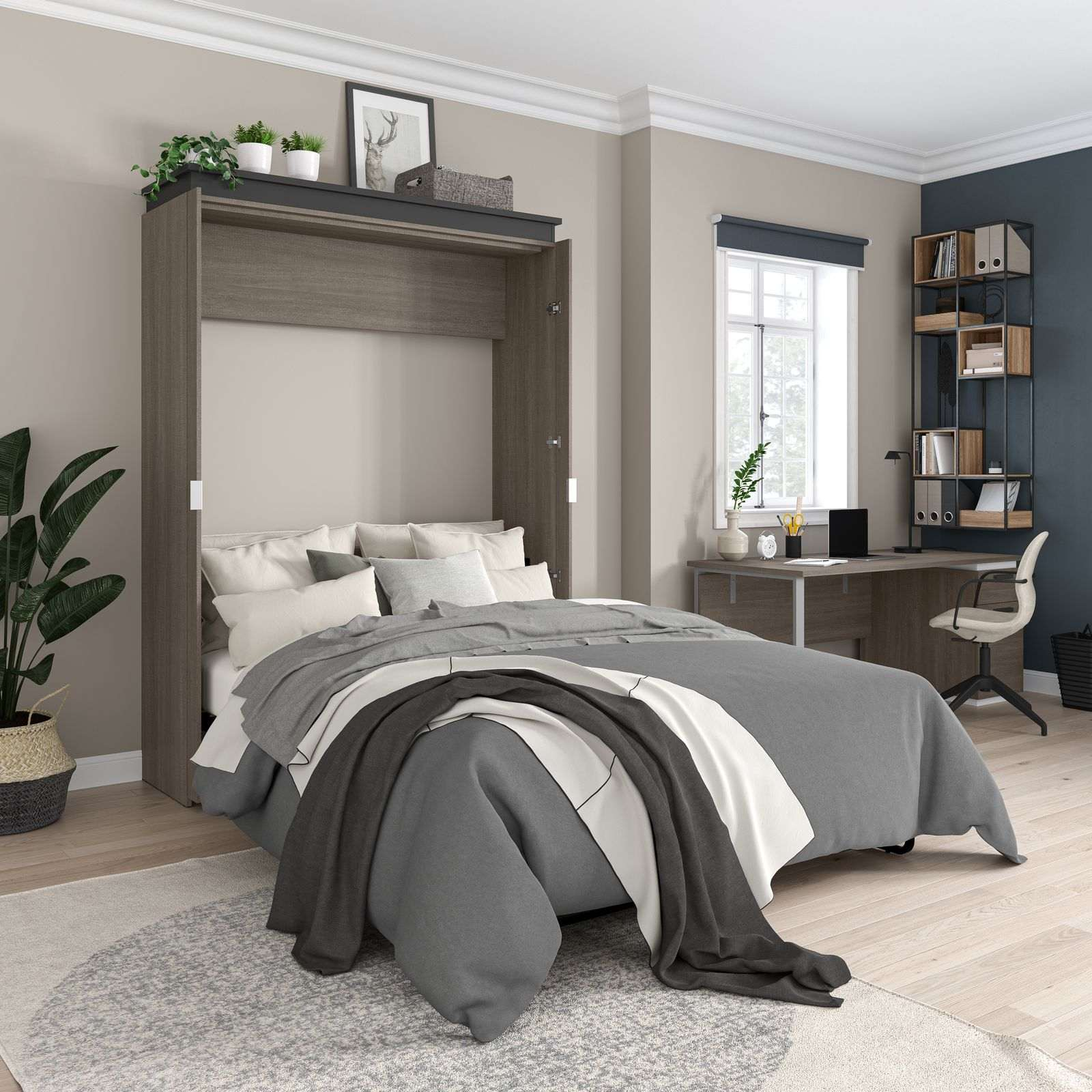 Multipurpose room with a Bestar modern Murphy Bed
