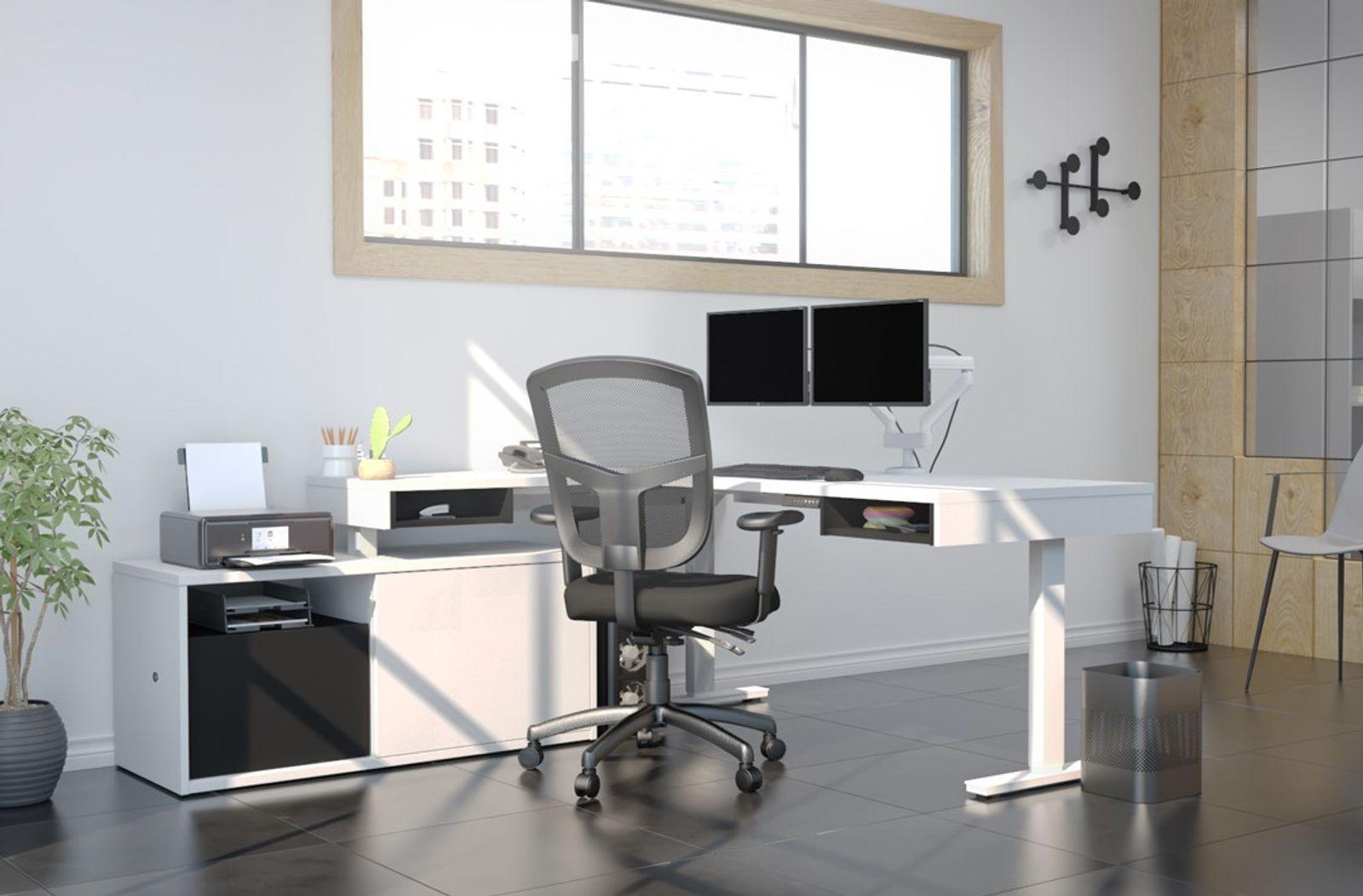 Bestar white Standing Desk with storage