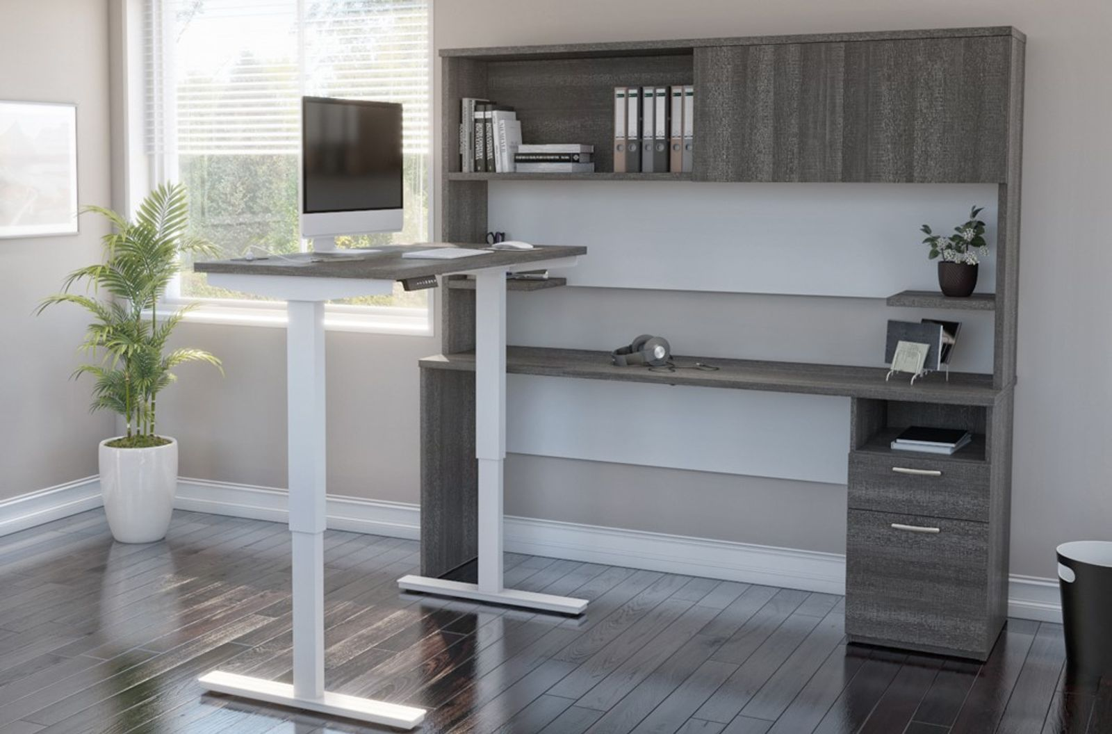 Bestar L-Shaped Standing Desk with storage