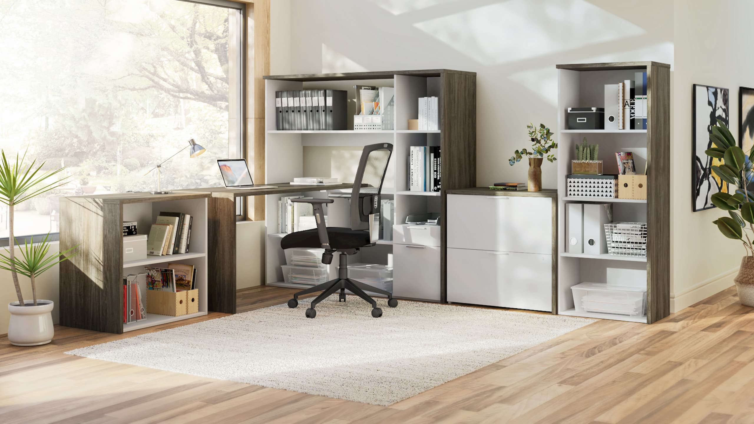 Modern home office with plenty of storage space