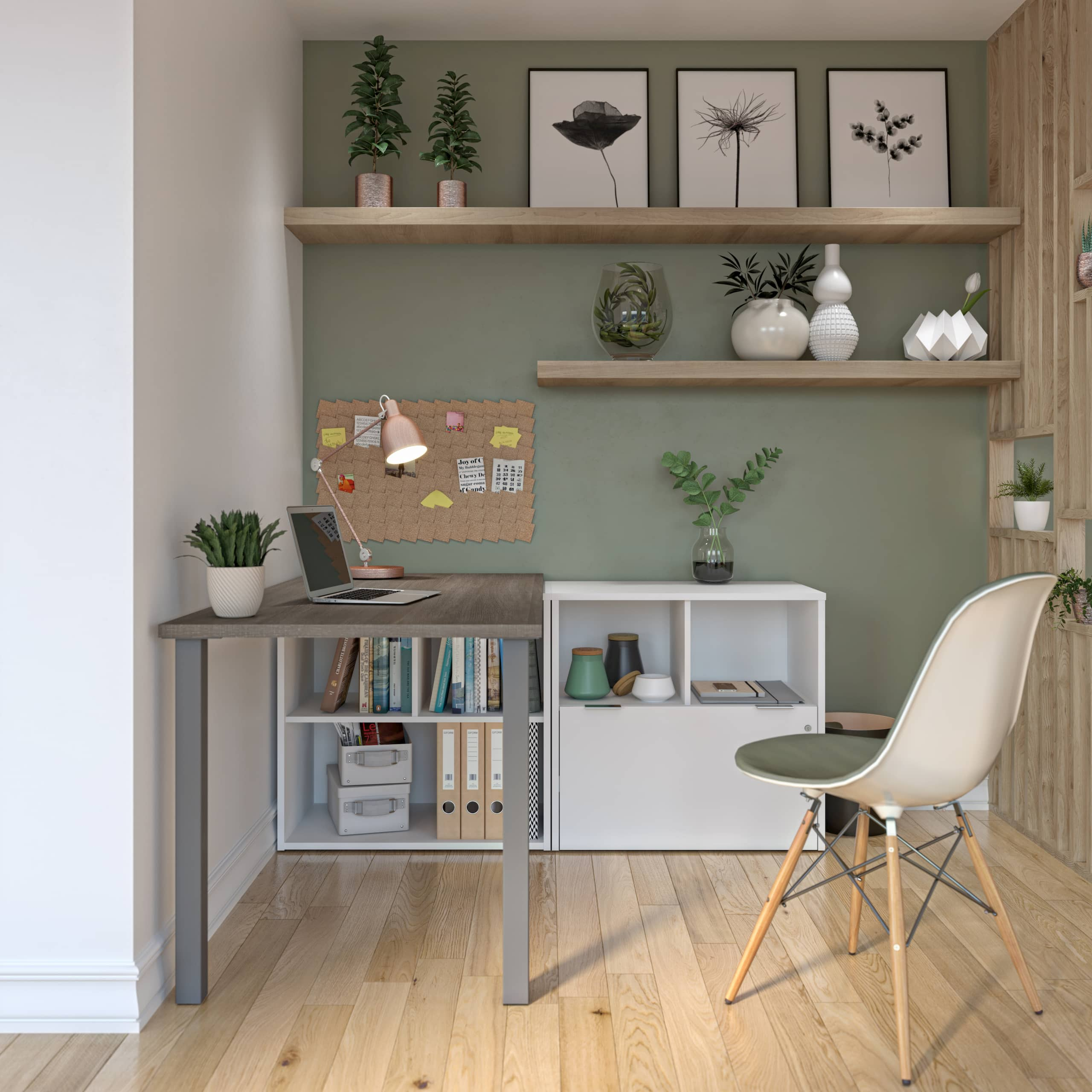 Modern home office with a Bestar desk