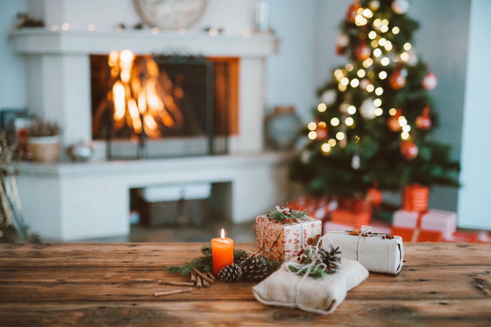 Christmas decorations with a fireplace