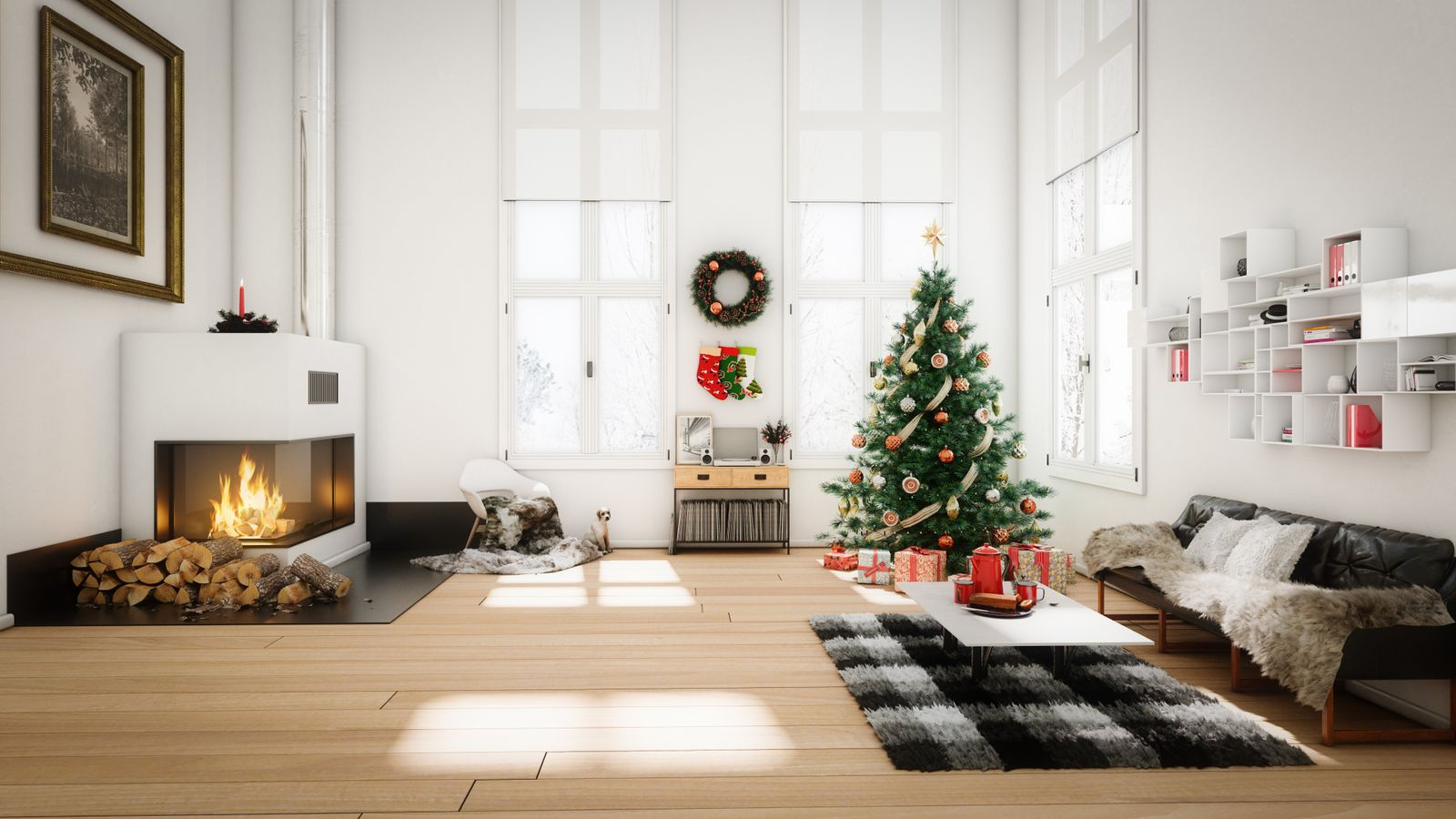 Contemporary room decorated for Christmas