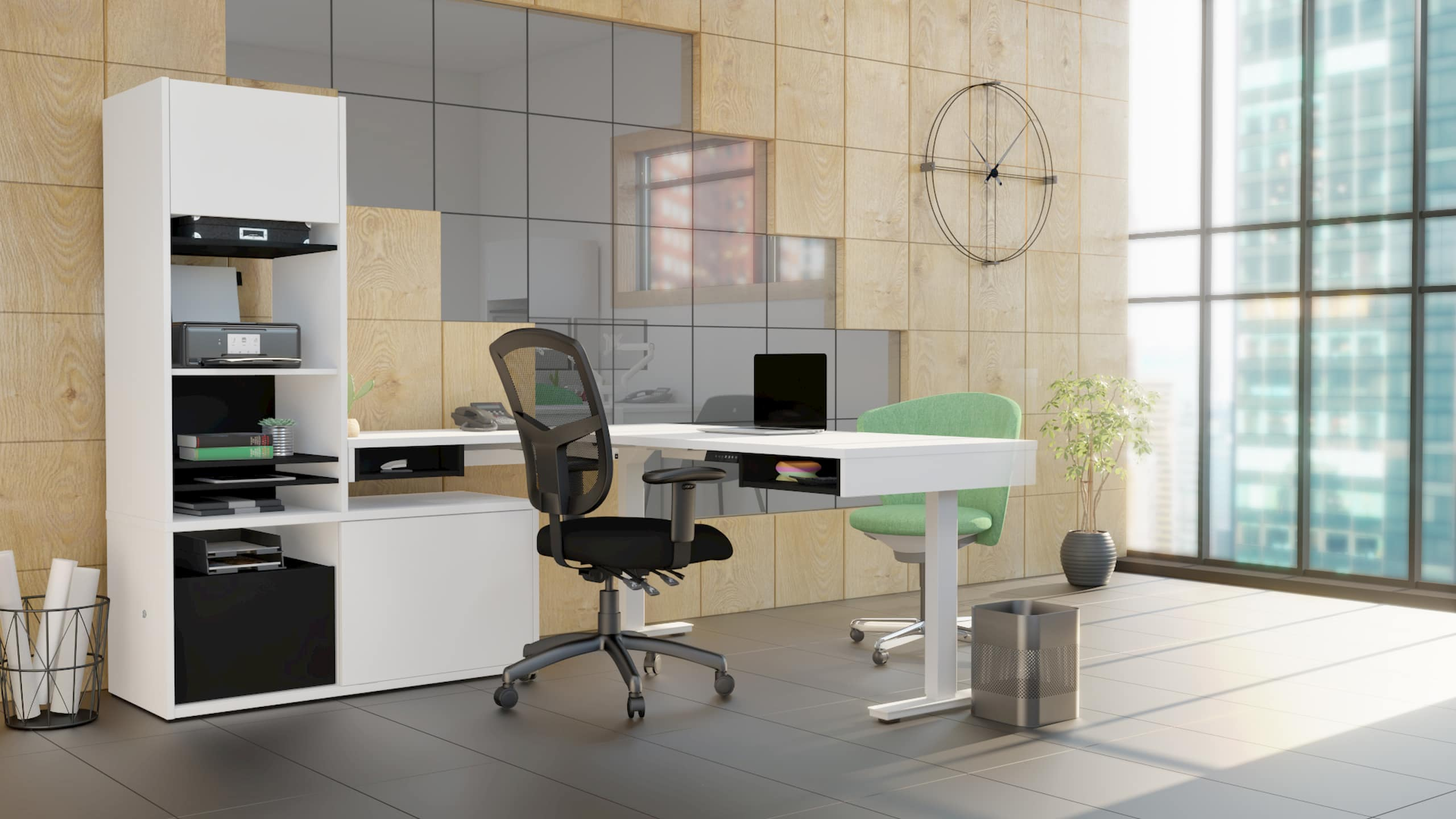 L shaped desk office