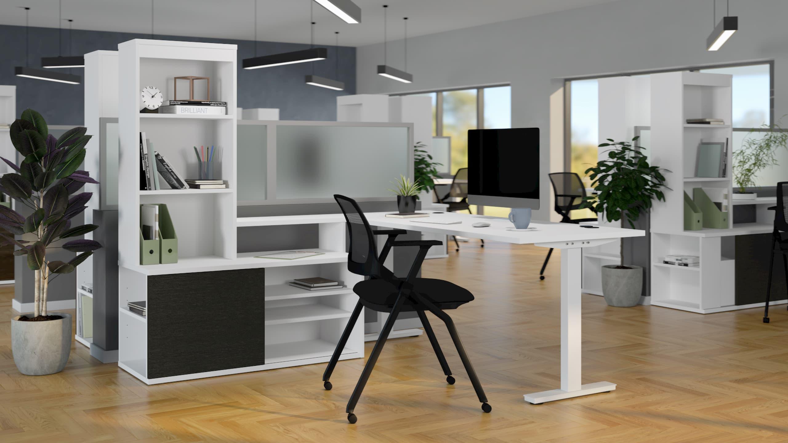 L shaped desk storage